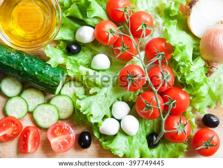 Ingredients for a fresh vegetable salad