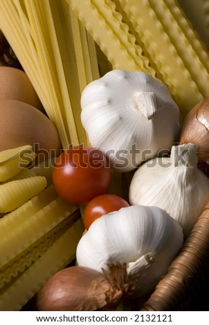 Ingredients for a great pasta... Italian style - stock photo