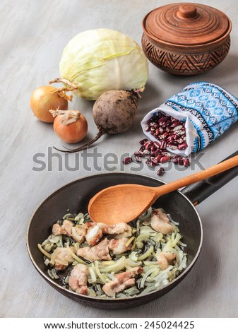 """Ingredients for a traditional Ukrainian soup """"soup"""" on the table - stock photo"""