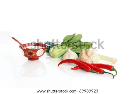 Ingredients for Asian cooking, isolated against white background - stock photo
