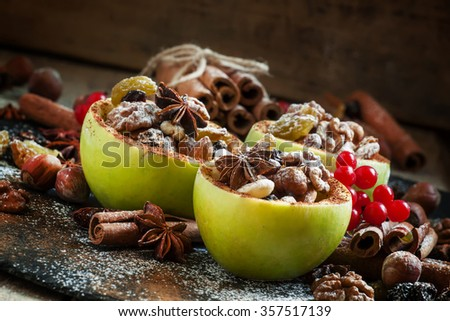 Ingredients for baked apple with nuts, selective focus