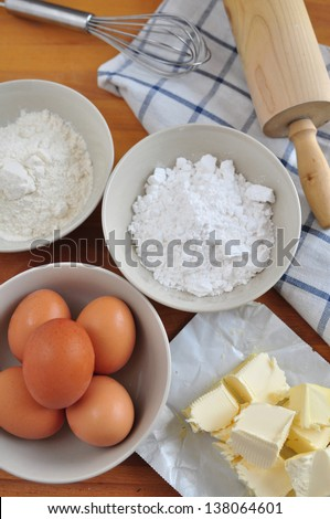 Ingredients for baking a cake - stock photo
