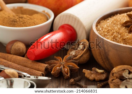 ingredients for baking apple pie, selective focus, horizontal, close-up - stock photo