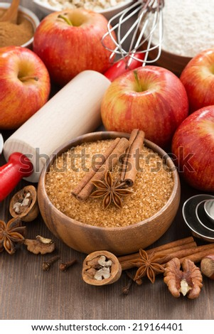 ingredients for baking apple pie, vertical, close-up - stock photo