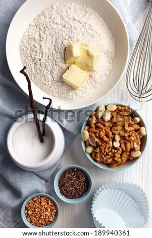 Ingredients for baking cake - stock photo