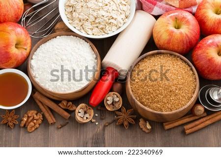 ingredients for baking cake, top view, horizontal - stock photo