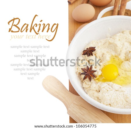 Ingredients for Baking isokated on white background. With sample text.