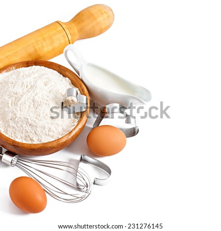 Ingredients for baking isolated on white background - stock photo