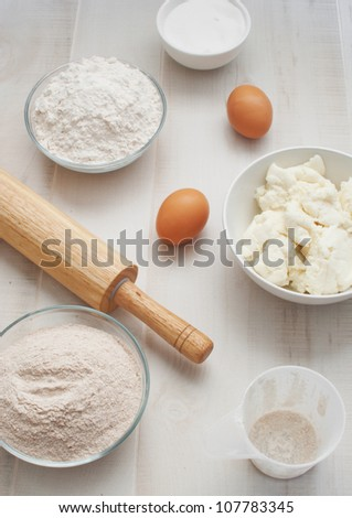 Ingredients for baking top view - stock photo