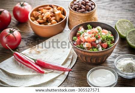 Ingredients for burrito - stock photo