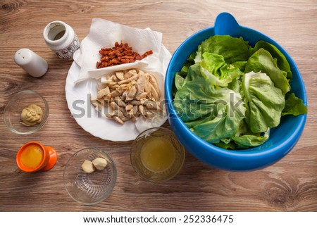 Ingredients for Caesar salad - stock photo