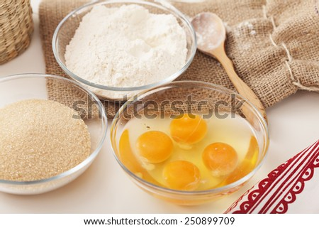 ingredients for cake on the table - stock photo