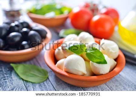 ingredients for caprese - stock photo