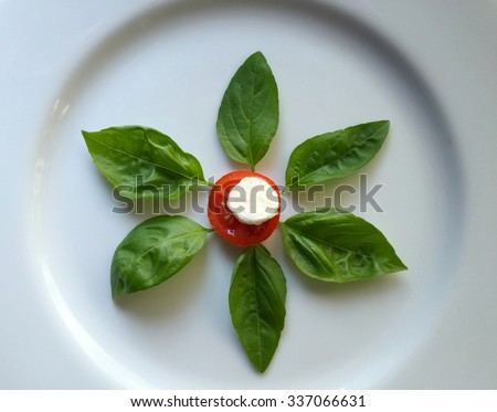Ingredients for caprese salad form a flower shape. - stock photo