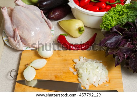 Ingredients for Chicken with Vegetables - stock photo