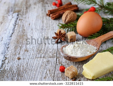 Ingredients for Christmas baking. Selective focus, space for text - stock photo