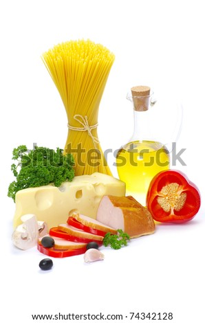 Ingredients for cooking italian pasta over white - stock photo