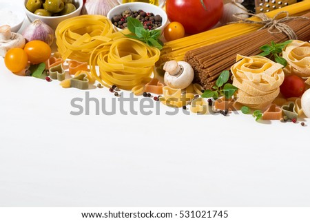 Ingredients for cooking pasta and white background, horizontal