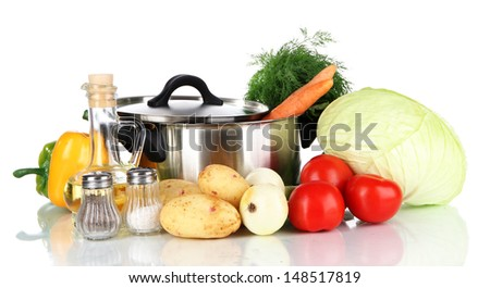 Ingredients for cooking soup isolated on white