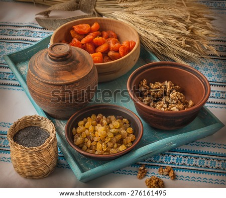 """Ingredients for cooking traditional meal in eve Christmas """"Kutya""""  - stock photo"""