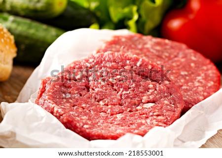 Ingredients for hamburgers - stock photo