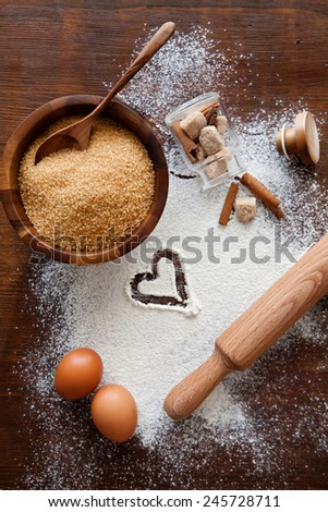 Ingredients for homemade cookies  - stock photo