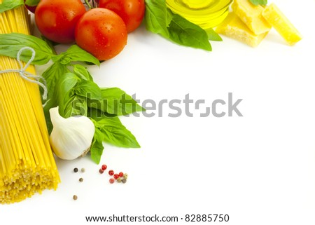 Ingredients for Italian cooking / frame composition / isolated on white - stock photo