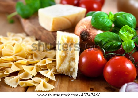 Ingredients for Italian dish - stock photo