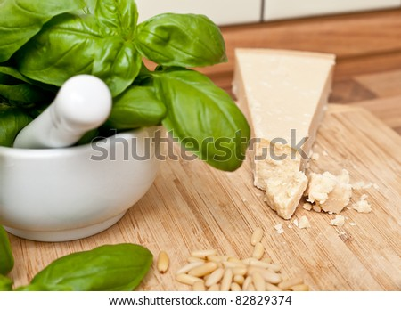 Ingredients for italian pesto genovese