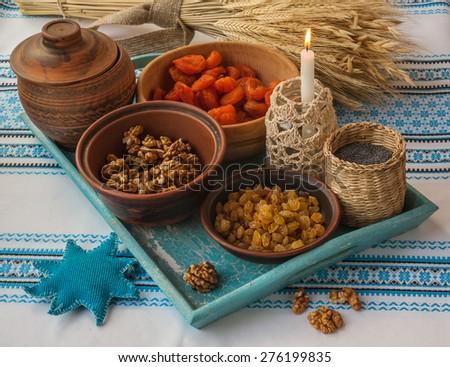 Ingredients for kutia - traditional food for Christmas. Christmas Eve - stock photo