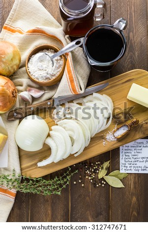 Ingredients for making French onion soup. - stock photo