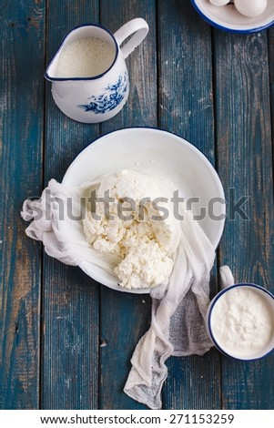 Ingredients for making homemade cheese cottage. Natural Food concept.  - stock photo