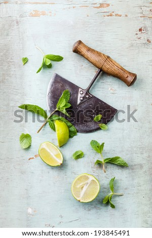 Ingredients for making mojitos mint leaves and lime on blue background - stock photo