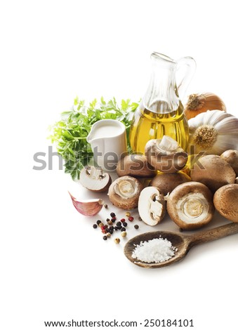 Ingredients for mushroom soup on white background - stock photo