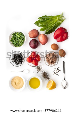 Ingredients for Nicoise salad on the white background - stock photo