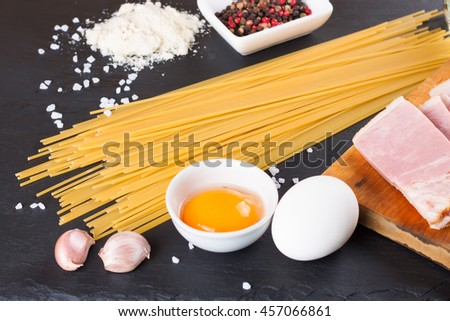 Ingredients for Pasta Carbonara - stock photo