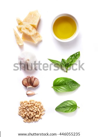 ingredients for pesto isolated on white background. top view - stock photo