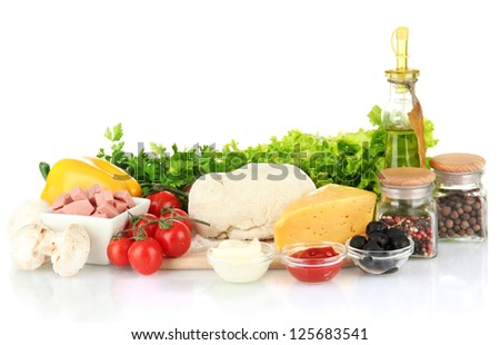 Ingredients for pizza isolated on white - stock photo