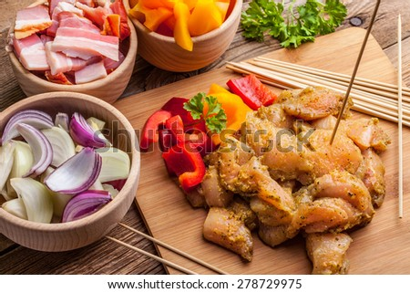 Ingredients for preparation skewers for grilling. Selective focus. - stock photo