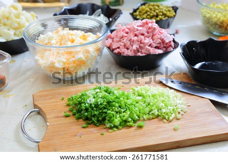 Ingredients for preparing russian traditional salad Olivier - stock photo