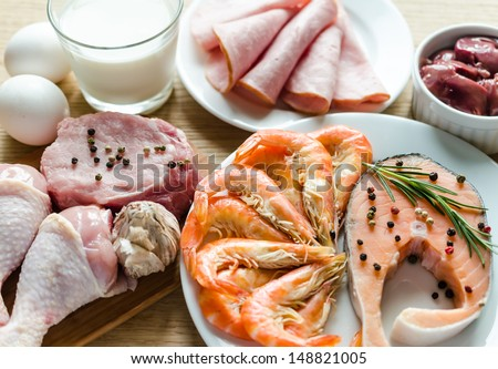 Ingredients for protein diet - stock photo