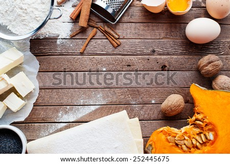 ingredients for pumpkin pie, space for text - stock photo