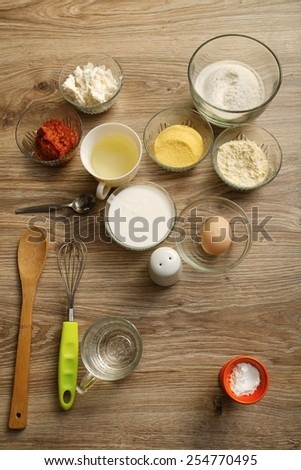 Ingredients for salty muffins - stock photo