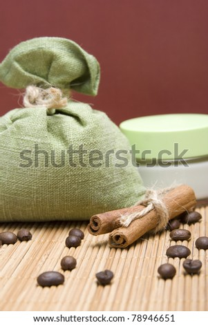 Ingredients for spa coffee, cinnamon, sea salt and cream - stock photo