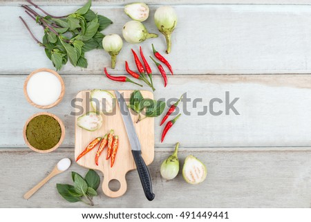 Ingredients for Thai green curry.