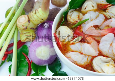 Ingredients for Thai soup, Tom Yum Goong.