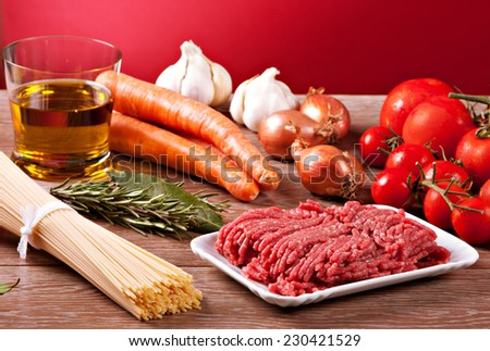 Ingredients for the Bolognese sauce - stock photo