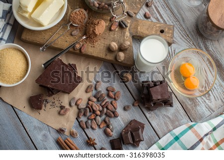 ingredients for the chocolate cake - stock photo