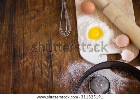 Ingredients for the dough, baking background, space for text - stock photo