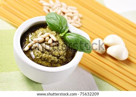 Ingredients for the spaghetti al pesto, a typical Italian recipe. - stock photo